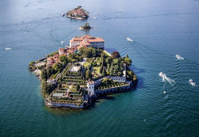Isola Bella e Isola Pescatori dall'alto
